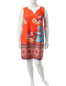 Robbie Bee Bright Orange Everyday & Casual Sheath Dresses