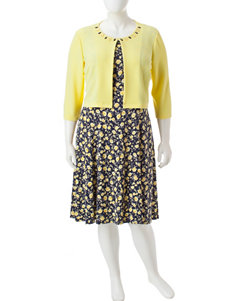Perceptions Black / Yellow Everyday & Casual Jacket Dresses