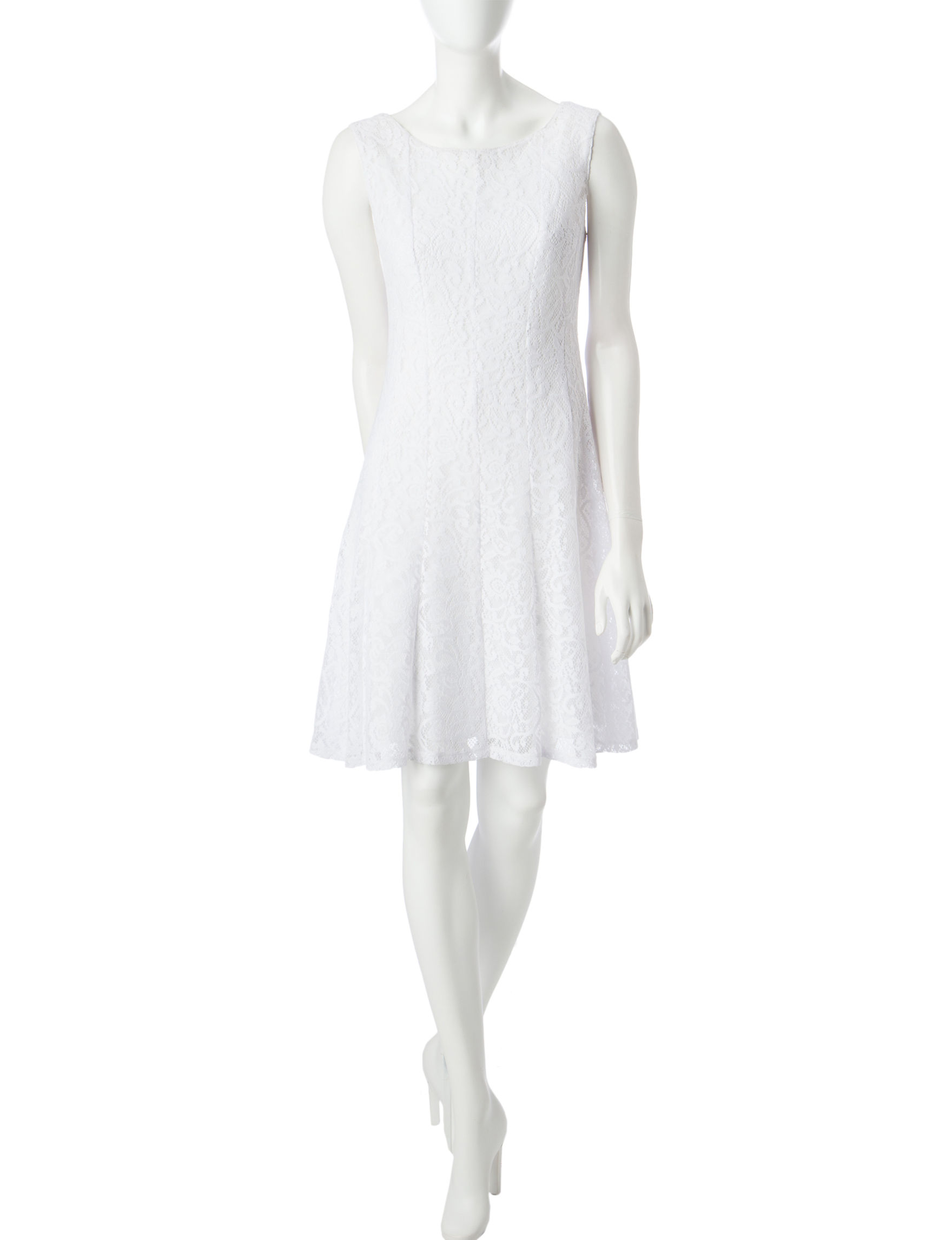 Connected White Everyday & Casual A-line Dresses Fit & Flare Dresses