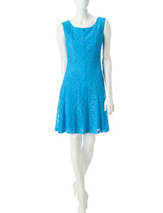 Connected Turquiose Everyday & Casual A-line Dresses Fit & Flare Dresses