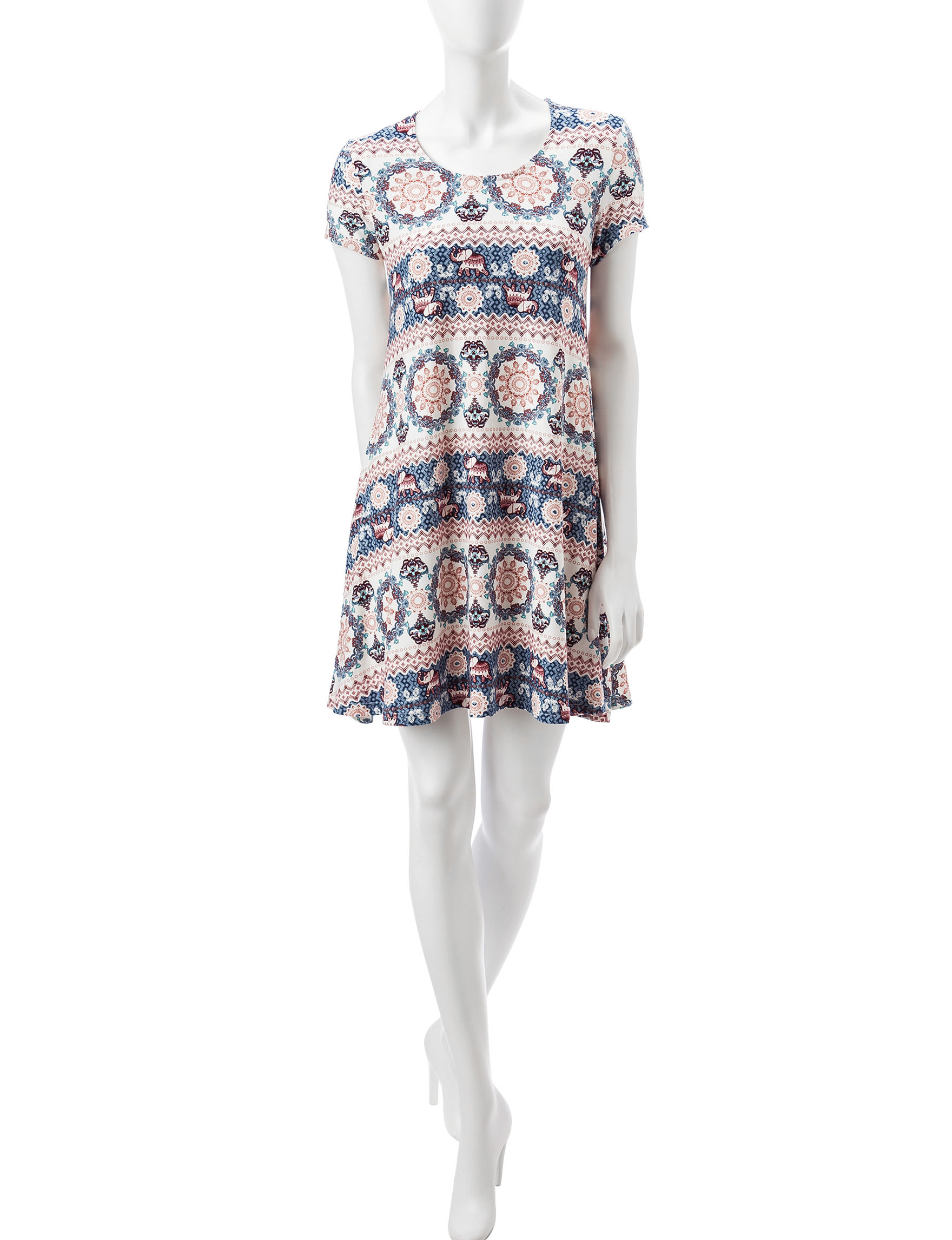 Wishful Park White Multi Everyday & Casual Shift Dresses