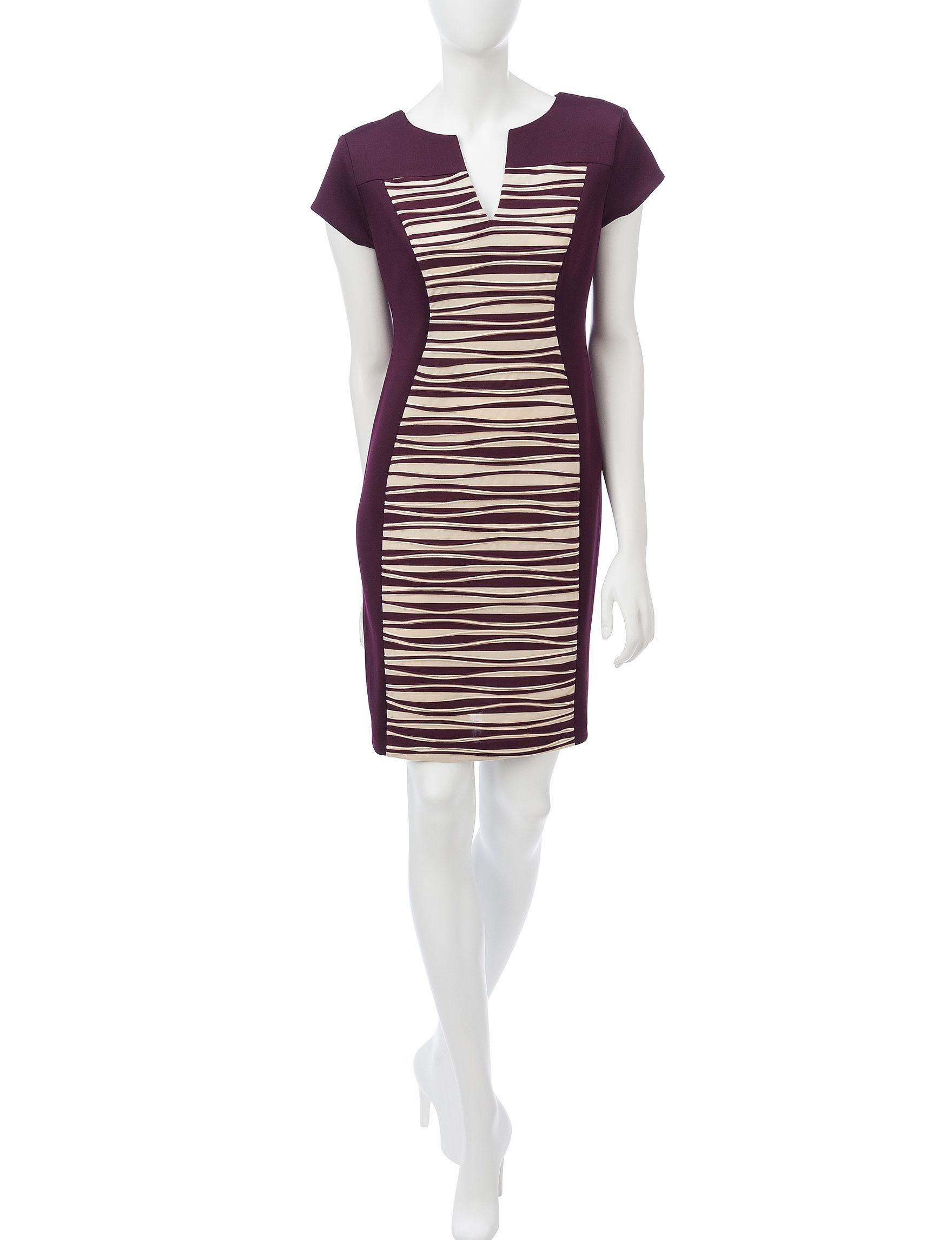 Connected Purple Multi Everyday & Casual Scuba Dresses Sheath Dresses