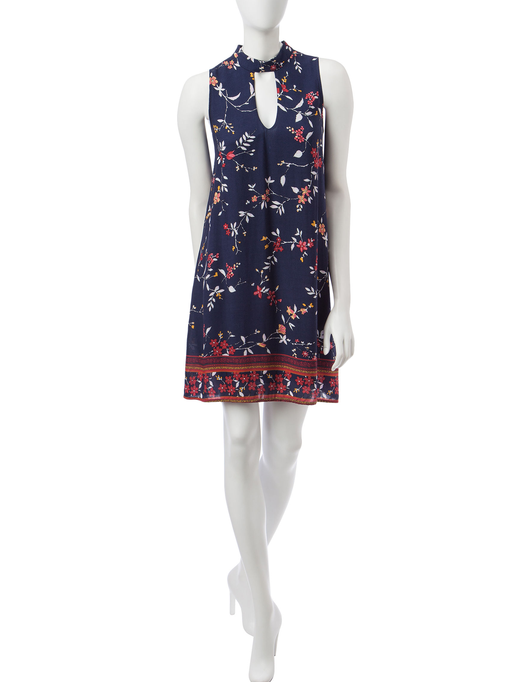 My Michelle Navy Multi Everyday & Casual Shift Dresses