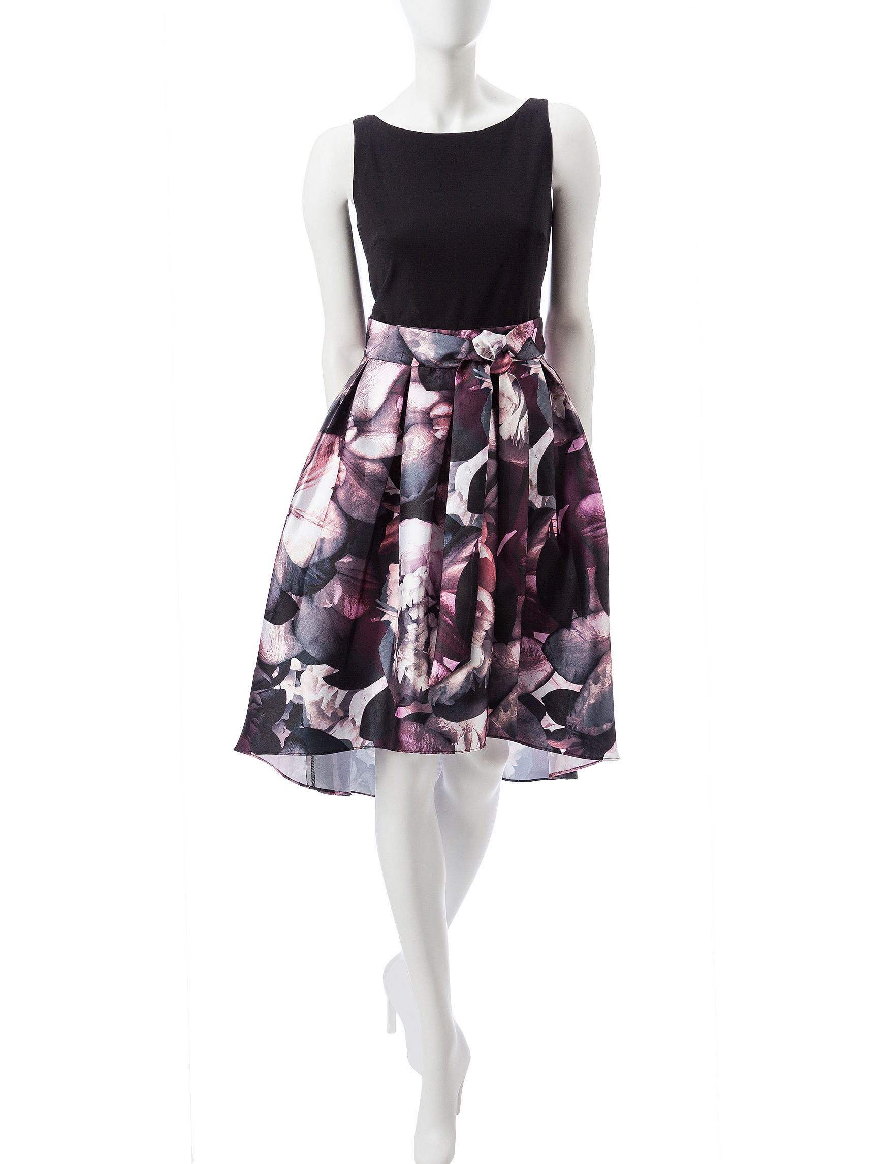 S.L. Fashions Black / Pink Cocktail & Party Evening & Formal A-line Dresses Fit & Flare Dresses
