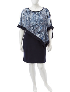 R & M Richards Blue / Black Everyday & Casual Jacket Dresses