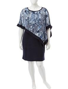 R & M Richards Plus-size Fly Away Poncho Dress