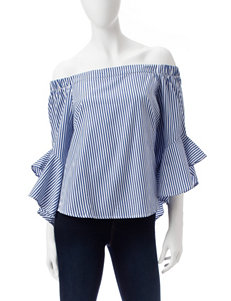Heart Soul Blue / White Shirts & Blouses