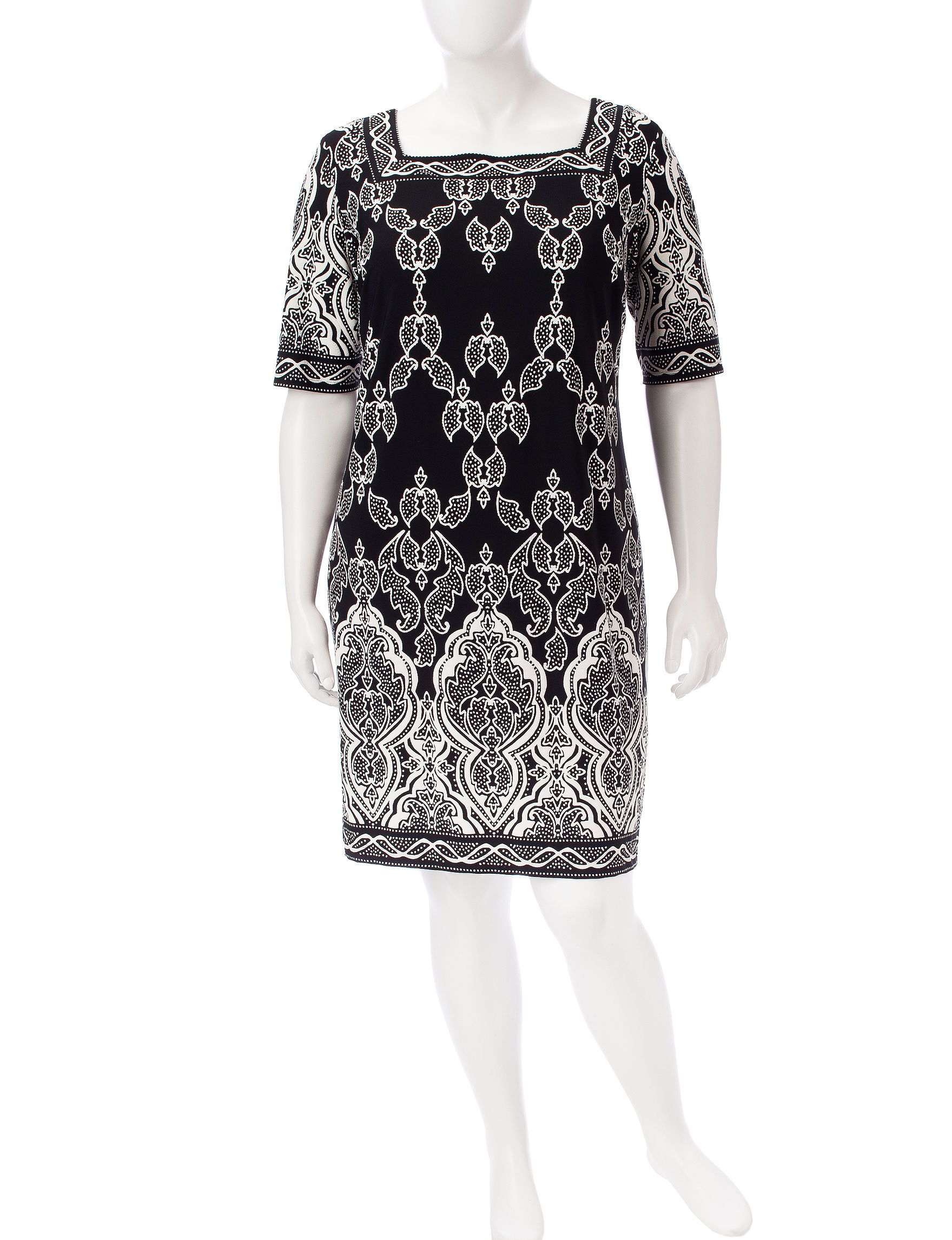 Sandra Darren Black / White Everyday & Casual Jacket Dresses