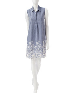 Sharagano Light Blue Everyday & Casual Shift Dresses