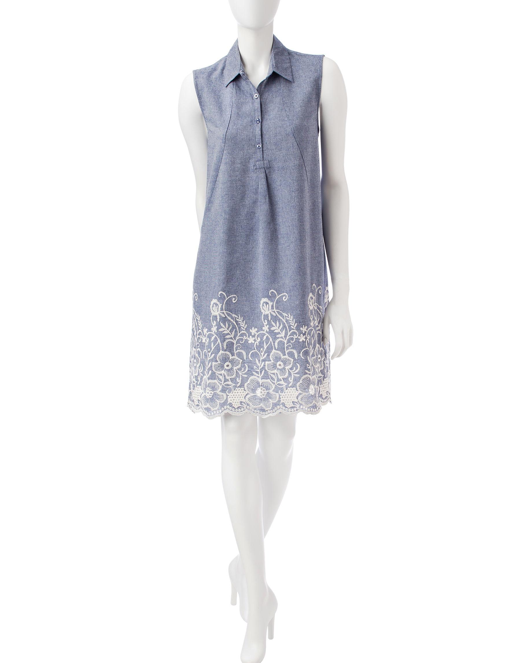 Sharagano Light Blue Everyday & Casual Shift Dresses
