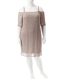 R & M Richards Metallic Cold Shoulder Dress