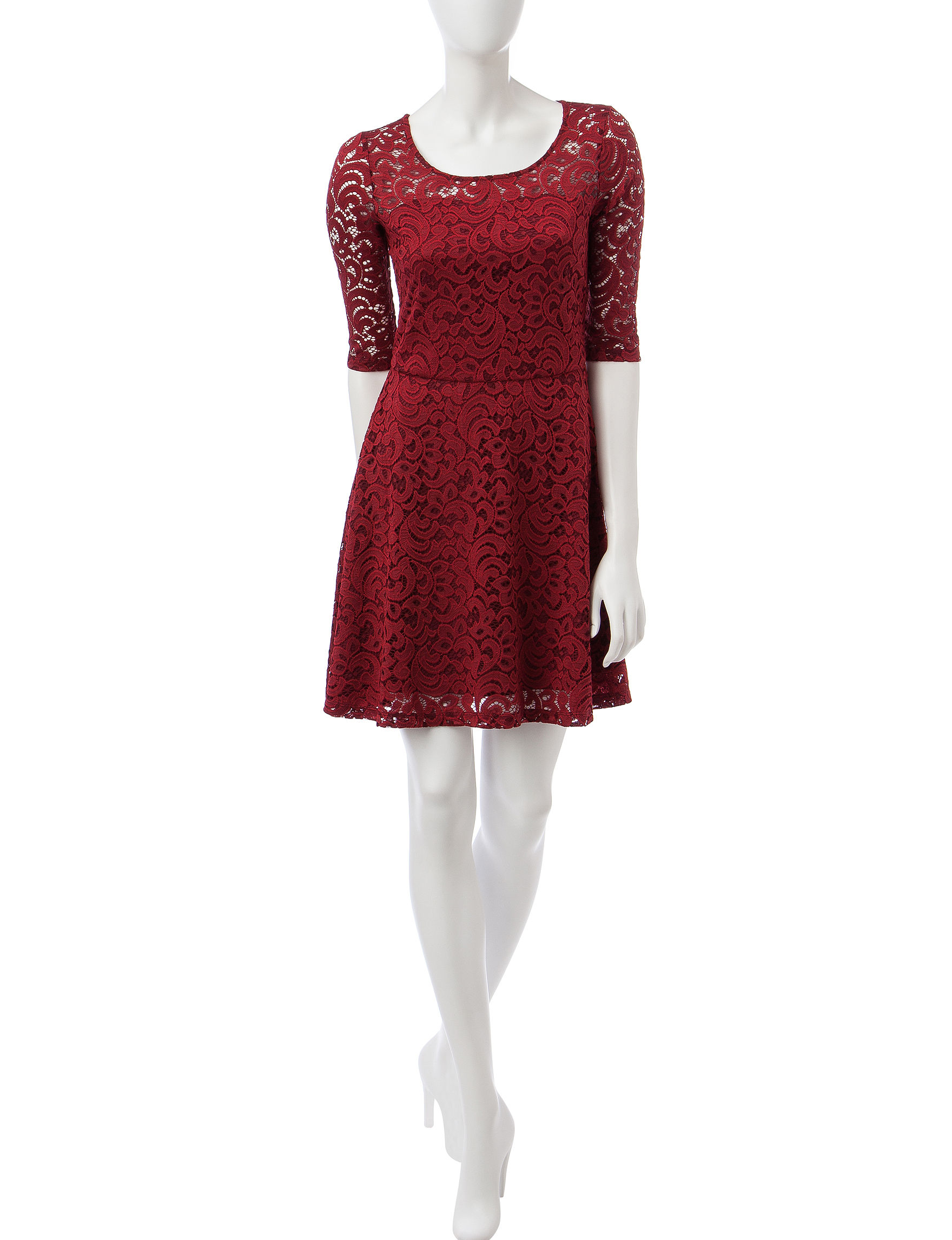 Wishful Park Wine Everyday & Casual Fit & Flare Dresses