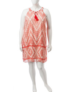 Madison Leigh Coral / Ivory Everyday & Casual Shift Dresses