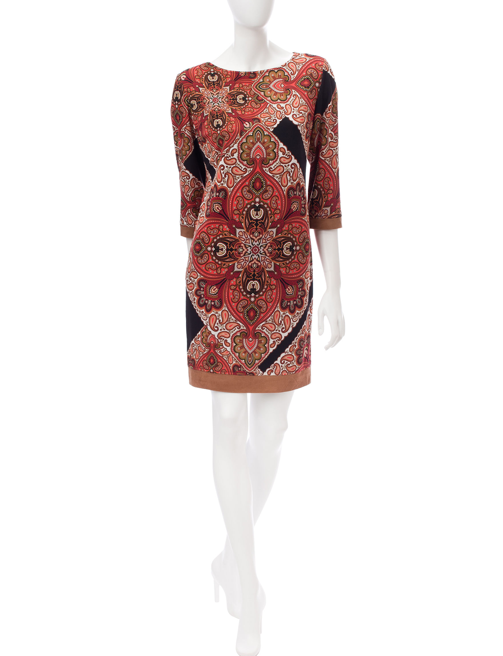 Ronni Nicole Red Multi Everyday & Casual Shift Dresses