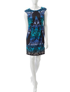 London Times Blue Multi Everyday & Casual Sheath Dresses