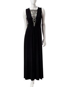 Sangria Black Cocktail & Party Evening & Formal Fit & Flare Dresses
