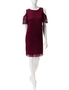 Nine West Burgandy Everyday & Casual Shift Dresses