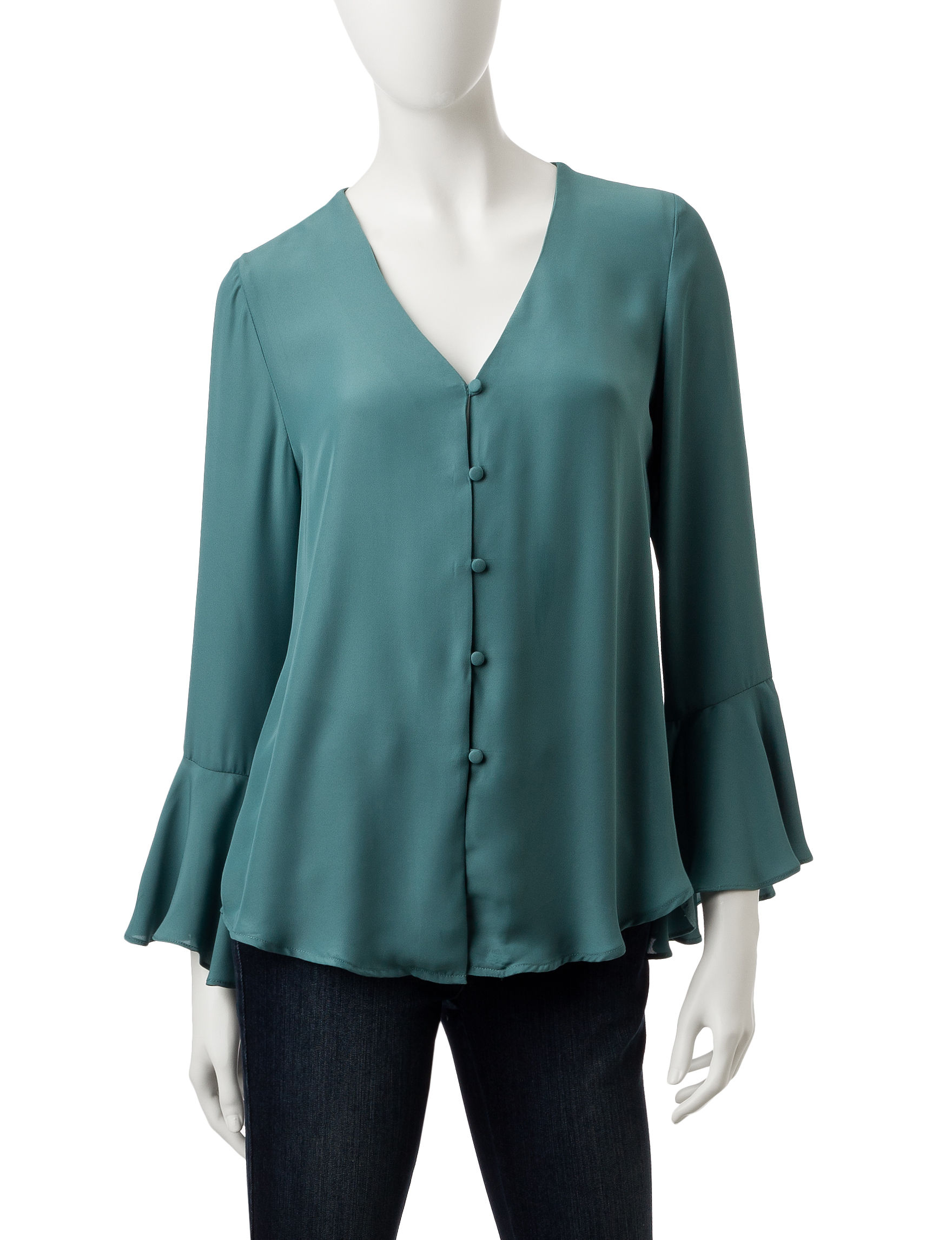 My Michelle Teal Shirts & Blouses Strapless