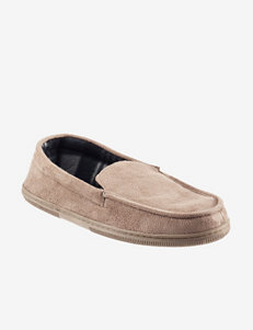 The Black Series Tan Memory Foam Moccasin Slippers