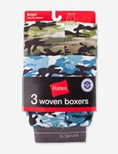 Hanes® Boys 3 Pack Camo Print Woven Boxers