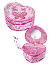 Pecoware Butterfly Heart Musical Jewelry Box