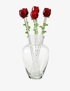 Eros Red Glass Rose Bouquet with Vase