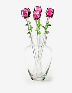 Eros Pink Glass Rose Bouquet with Vase