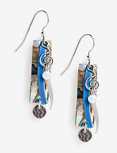 Silver Forest Silver Tone Rectangular Drops with Coil Design Earrings