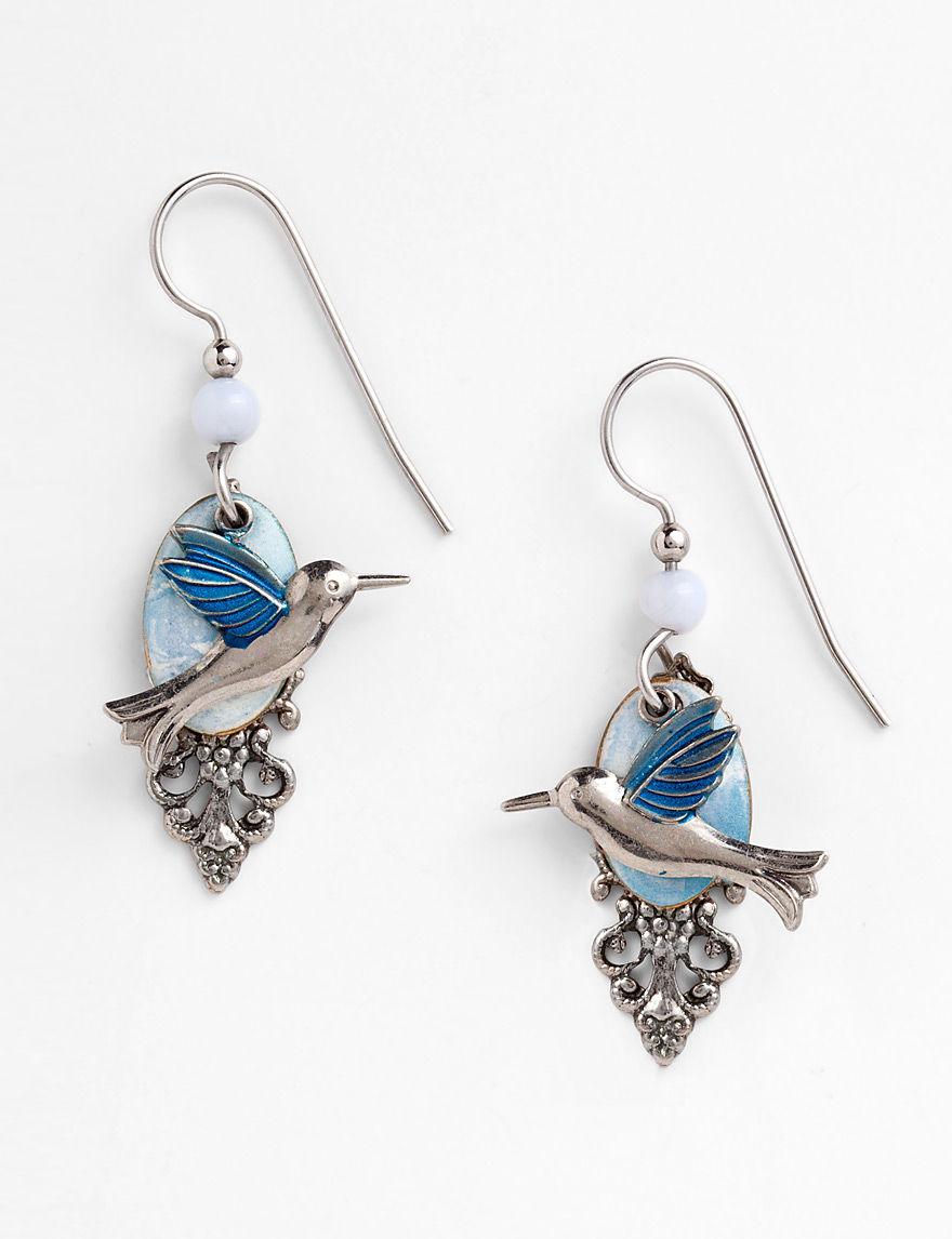 silver forest fashion hummingbird on cloud earrings