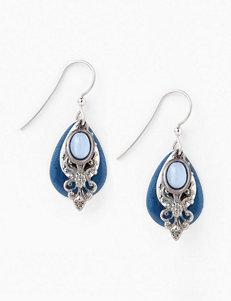 Silver Forest Blue Filigree Earrings