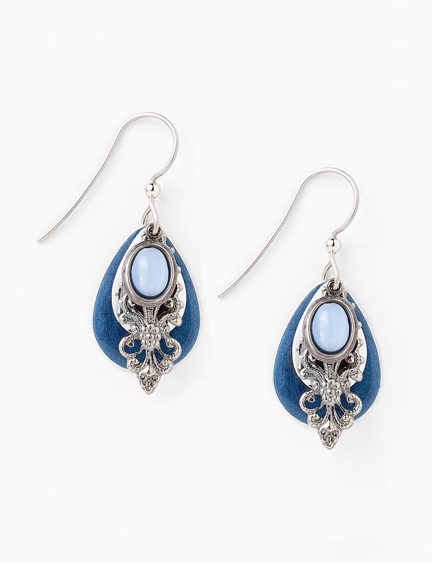 silver forest blue filigree earrings stage stores