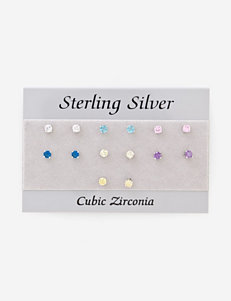 CZ Sterling Silver 7 Pair Small Stud Earrings