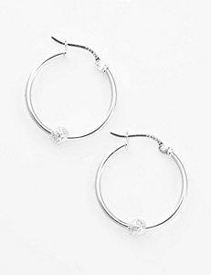 Sterling Silver Bead Accent Hoop Earrings