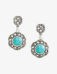 Silver Plated Round Turquoise Cabochon Marcasite Accent Drop Earrings