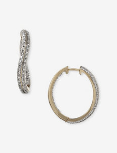 Diamond Accent Two Tone Wave Hoop Earrings