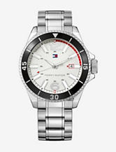 Tommy Hilfiger Black Bezel Stainless Steel Link Watch