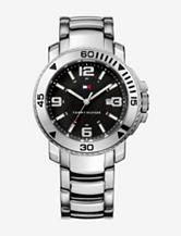 Tommy Hilfiger Black Dial Stainless Steel Link Watch