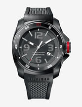 Tommy Hilfiger Black-Tone Textured Rubber Strap Watch