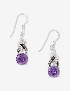 Marcasite & Purple CZ Drop Earrings