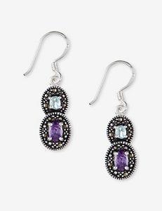 Marcasite & CZ Double Drop Earrings