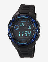 Armitron Men's Black Resin Metallic Blue Bezel Chronograph Watch