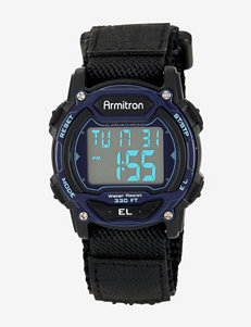 Armitron Black Nylon Strap & Blue Accent Digital Chronograph Sport Watch – Ladies