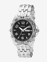 Armitron Men's Silver Tone Stainless-Steel Black Dial Dress Bracelet Watch