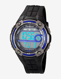 Armitron Sport Blue Accented Digital Chronograph Black Resin Strap Watch
