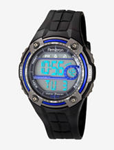Armitron Sport Blue Accented Digital Chronograph Black Resin Strap Watch
