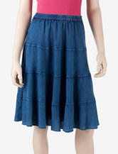 Studio West Tiered Acid Wash Skirt