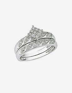 Sterling Silver 1/10 CT. T.W. Diamond Ring Set