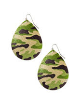 Wishful Park Silver-Tone Camouflage Teardrop Disc Earrings