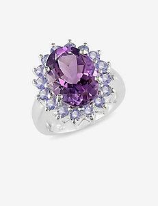Sterling Silver Amethyst & Tanzanite Gemstone Ring