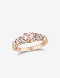 10K Rose Gold 1/2 CT. T.W. Morganite & 0.06 CT. T.W. Diamond Ring